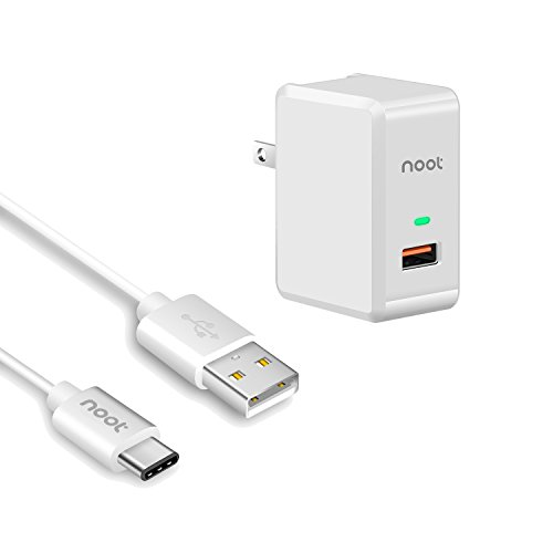 USB Wall Charger, Noot Products 18W with Quick Charge 3.0 and USB C Charging Cable Combo for Samsung Galaxy S9, S9 Plus S8, S8 Plus, Note, LG V30, G6, V20, Motorola Moto Z2 Moto Z Play Force Droid X4