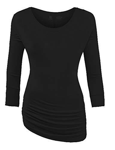 CLOYA Women's 3/4 Sleeve Boat Neck with Side Shirring Dolman Drape Top (XS, Black)