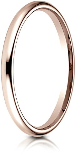 [Benchmark 14K Rose Gold 2mm Slightly Domed Standard Comfort-Fit Wedding Band Ring, Size 5.5] (Band Tiffany Style Ring)