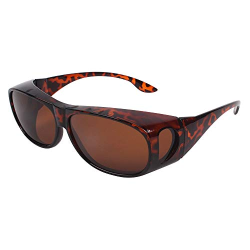 HD Night Day Vision Driving Wrap Around Anti Glare Sunglasses with Polarized Lens for Man and Women (brown lens+ as picture frame)