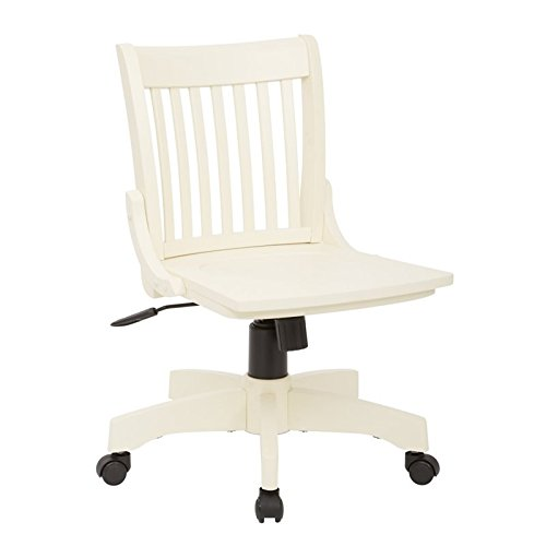 s Wood Banker's Office Chair in Antique White ()
