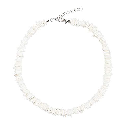 morvally Puka Shell Choker Necklace Handmade Adjustable White