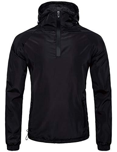 Pullover Zip 1/4 Anorak (Jenkoon Men's Lightweight Athletic Water Resistant 1/4-zip Hoodie Pullover Anorak Cycling Running Jacket (X-Large))