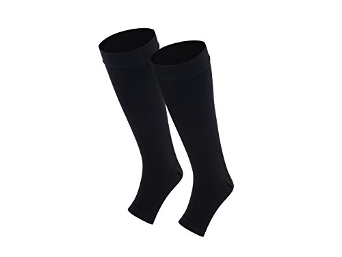 Veencare Open Toe, Knee High 15-20 mmHg Compression Socks, Medical, Pregnancy, Athletic, Varicose Vein, Edema, Travel, Nursing, Black, Small, Men, Women, Graduated, Unisex