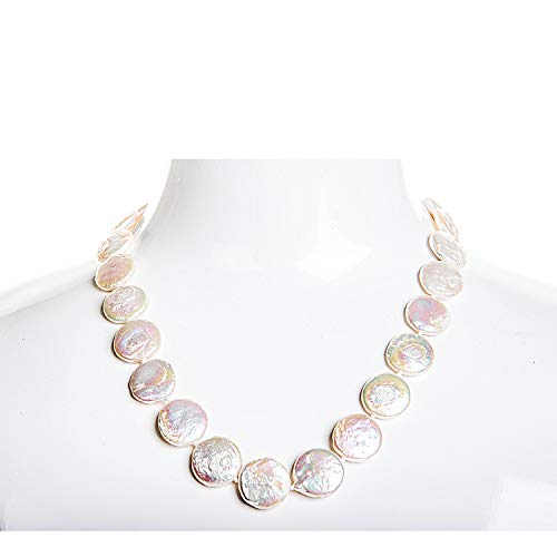 Single Strand White Freshwater Coin Pearl Necklace 14-15mm ()