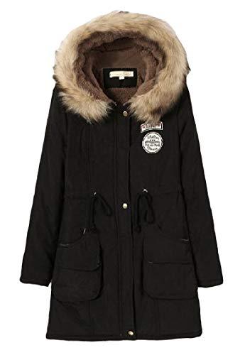 Sleeve Pocketed Long Parka Black Jacket Mid Drawstring Long EnergyWomen Velvet Pwq66f