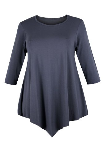 Curvylicious Women's Plus Size 3/4 Sleeve Round Neck Tunic Top 16 Grey