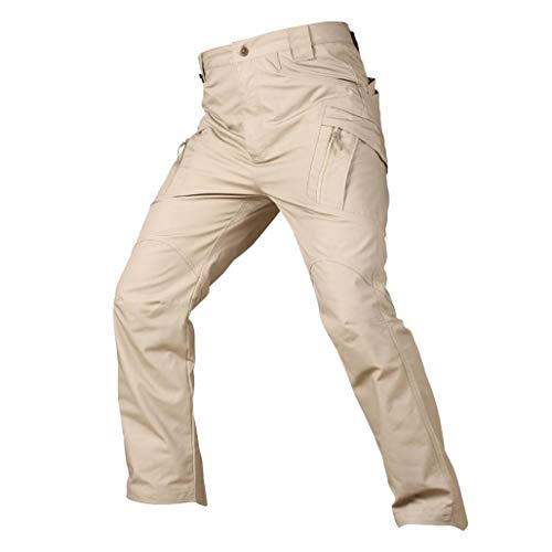 Mens Best seller Casual Cargo Pants - vermers Men's Leisure Tactical Military Army Combat Outdoors Work Trousers(L, Khaki)