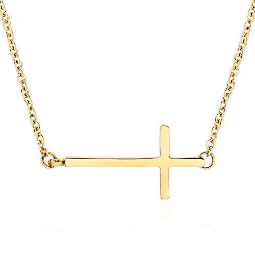Ghome Sideways Cross Necklace 18k Gold Plated Stainless Steel Simple Small Cross Pendant from Offer Silver or Gold Color 18 Inches for Women Girls with Gift Box (Gold)