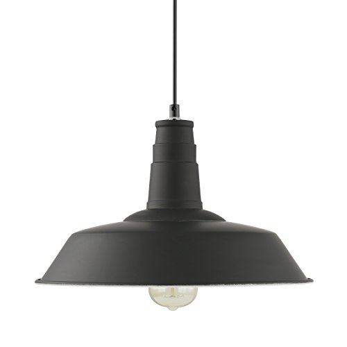 Light Society Kress Pendant Light, Matte Black Shade with White Interior, Vintage Modern Industrial Farmhouse Lighting Fixture (LS-C199-BLK) by Light Society