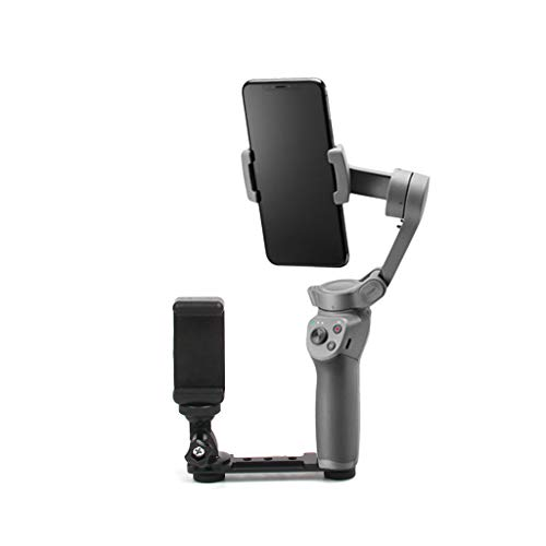 Shan-S Mobile Phone Stand Holder for DJI Osmo Mobile 2/3, Handheld 3 Axis Gimbal Stabilizer Smartphone Expansion Bracket Monitoring Display Compatible for 4-5.5 inch Mobilephones (Best Pro Camcorder For Weddings)