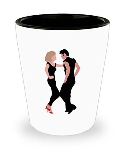 Grease Musical Romantic Comedy Film Shot Glass Mug Cup - 1.5oz Grease Movie Mug Gift Merchandise Accessories Decor Decal Pin Shirt Olivia Danny by Trinkets and Novelty