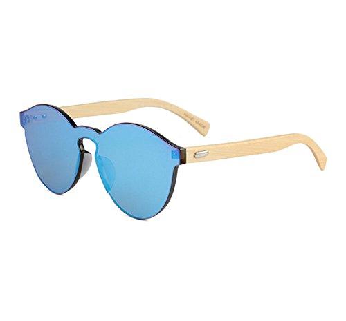 sin de de de forma Azul en de marco madera Gafas Gafas bambú de Gafas corazón sol redondas corazón del polarizadas retro madera IP7Hw