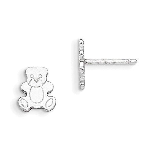 Lex & Lu Sterling Silver Polished Teddy Bear Post Earrings-Prime