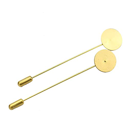 (Monrocco 50 Pcs Gold Tone Round Tray Lapel Pin Safety Pins Brooches Blank Brooch Pin for Men Women Suit Tie Hat Scarf Badge DIY Jewelry Accessories )