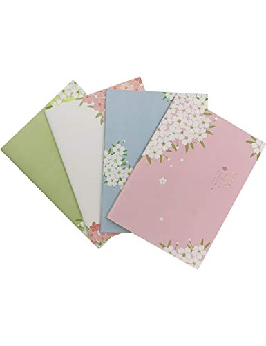 (What's Fun B5 Theme Designed Softcover College Ruled Notebook/Composition/Journals/Dairy/Office Note Books Set of 4 Per Pack (Sakura Language))
