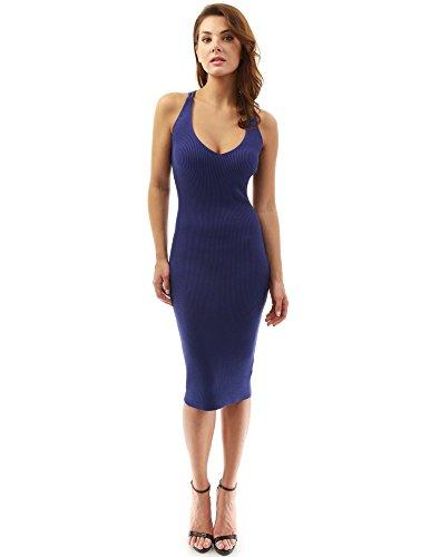 PattyBoutik Women's V Neck Criss Cross Back Ribbed Knit Dress (Moderate Blue Medium)