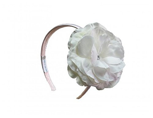 Jamie Rae Hats Pale Pink Hard Headband with White Large Rose, One Size