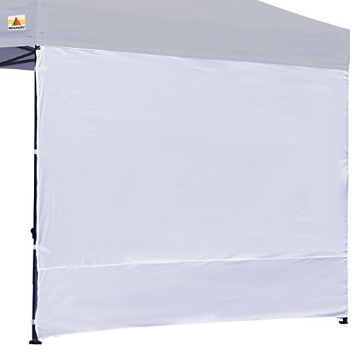 ABCCANOPY (15+colors) 10' Sun Wall for 10'x 10' straight leg pop up canopy, 10' Sidewall kit (1 Panel) with Truss Straps, (White) (Leg Tab Straight)