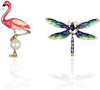 MOLIN エナメル ブローチ トンボ フラミンゴ セット ファッション 服アクセサリー 胸飾り 動物 ピン ジュエリー