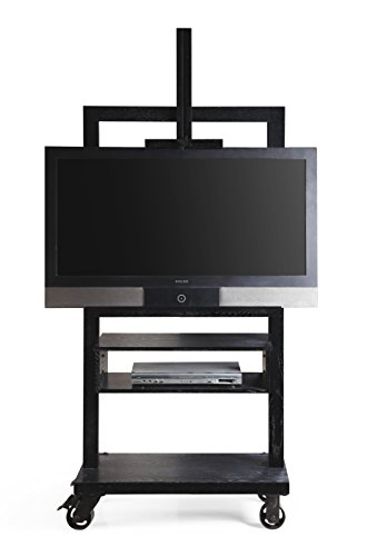 Hives and Honey Cullen Black 3-Tier TV Stand for Flat TV Panel Television Wood Storage Entertainment ()