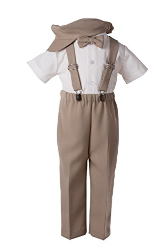 Boys Khaki Tan Suspender Pant Set for Baby and Toddlers (3 Toddler) ()
