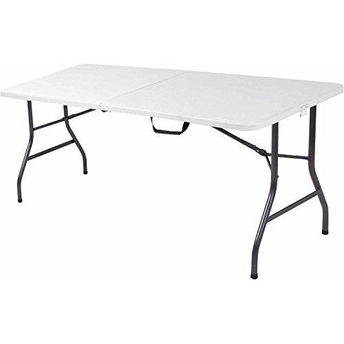 Price comparison product image Cosco 6' Centerfold Table,  Multiple Colors Moisture proof top weather resistance Fully molded top heavy duty strong steel frame and legs Product Dimensions (L x W x H): 72.00 x 29.50 x 29.13 Inches