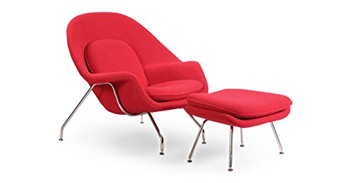 Kardiel Womb Chair & Ottoman, Red Boucle Cashmere Wool