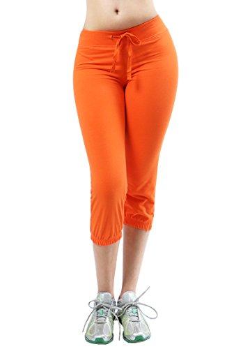 Athletic Fashion Sporty Lounge Women Capri Design Sweatpants LARGE (Orange Sweatpants)