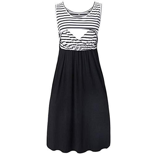 Women's Maternity Summer Dress Pregnant Sleeveless Stripe Nursing Layered Breastfeeding Dresses