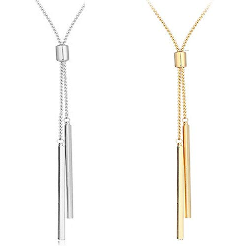 Luckyse Long Tassel Necklace Y Shaped Adjustable Fashion Pendant Chain for Lady, 32+2
