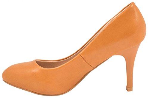 Elara Damen Pumps   Stiletto High Heels   Lederoptik Abendschuh marrón claro