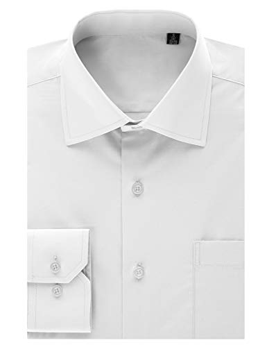 MONDAYSUIT Men's Tailored Fit Spread-Collar Solid Pinpoint Non-Iron Dress Shirt White 15/15.5