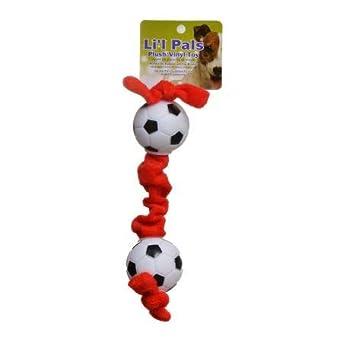 Pelota de fútbol Lil Pals de peluche para perro, color rojo ...