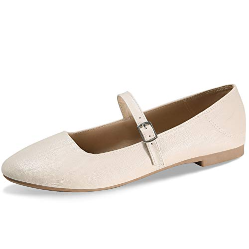 CINAK Flats Mary Jane Shoes Women's Casual Comfortable Walking Buckle Ankle Strap Fashion Slip On(7-7.5 B(M) US/ CN39 / 9.5'', Beige)