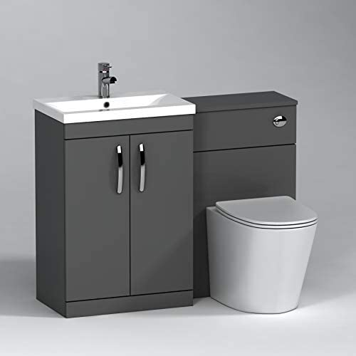 1100mm Modern Indigo Grey Gloss Bathroom 2 Doors Mid-Edge Vanity Unit Basin Sink & Slim Cesar Rimless Pan + Toilet Furniture Set