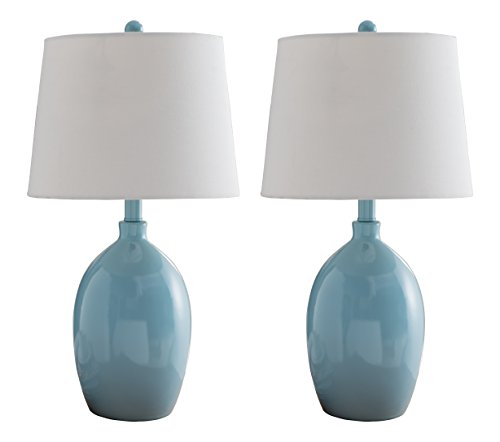 Kings Brand Light Blue with White Fabric Shade Table Lamps, Set of -