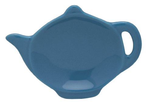 (HIC Teapot-Shaped Tea Bag Holder and Resting Caddy, High-Fired Ceramic, Bayberry, 4.5-Inches )
