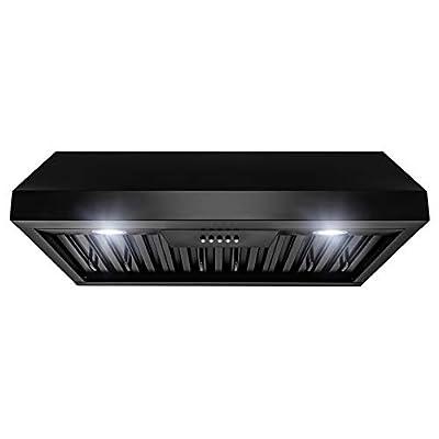 "AKDY Range Hood – Stainless Steel 30"" Hood Filter – Premium Kitchen Exhaust Fan – Under Cabinet Range Hood – Matte Black Modern Design – Quiet Double Motor – Baffle Filter & Push Control Panel"
