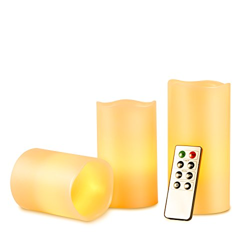 Kohree Battery Operated Flameless Pillar Candles w/Remote...