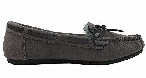 Cozi Womens Fur Cozy Lined Slippers Hello Moccasin Faux Grey Suede qSn7CWqdAw