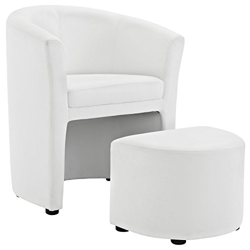 Modway Divulge Faux Leather Accent Arm Lounge Chair and Ottoman 2-Piece Set in White (Chair And Set Ottoman Lounge)