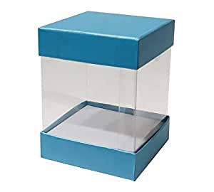 Blue and Clear Gift Boxes 12 pieces - 7.5x7.5x10cm