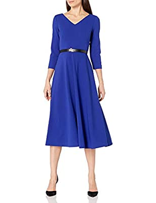 Calvin Klein Women's Three Quarter Sleeve Belted Midi with V-Neckline