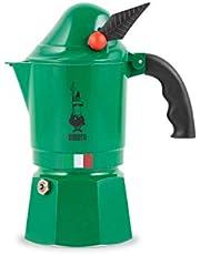 Bialetti 2762 Moka Express Alpina (bergsjägarkropp) espressobryggare, aluminium, grön