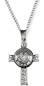 """Sterling Silver US Army Halo Cross Pendant Necklace, 24"""""""