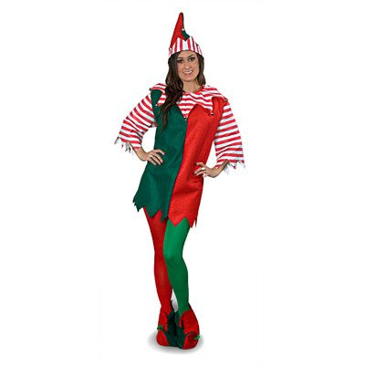 [Sunnywood Elf Costume, Green/Red, One Size] (Green And Red Elf Costumes)
