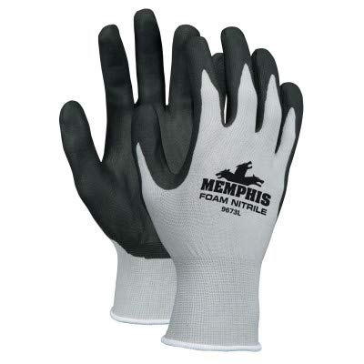 Memphis Glove 9673L Foam Nitrile Gloves, Large, Black/Gray (Pack of 12)