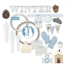 Winter Chipboard - Kole CG759 Winter Chipboard Shapes with Foil Accents