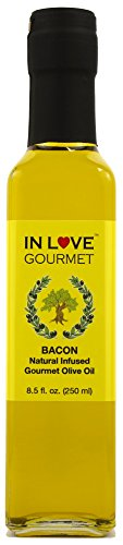 In Love Gourmet Bacon Natural Flavor Infused Olive Oil 250ML/8.5oz Best Bacon Oil Choice for Meats, Veggies, Popcorn & ()